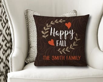 Happy Fall PILLOW, Family Name Pillow, Personalized Fall Gift, Family Name Gift, Fall Quote Decor, Fall Pillow Cover or With Insert