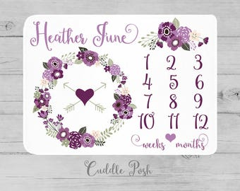 Baby Girl Milestone Blanket, Purple Floral Newborn Photography Backdrop, Month Growth Chart Quilt, Purple Personalized Baby Shower Gift