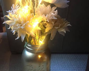 Light-up White Floral Centerpiece in Gold Mason Jar