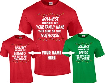 Christmas Shirt Custom Personalized Family Name T Shirt Funny Christmas Vacation Shirts ADD YOUR FAMILY Name Jolliest Bunch of
