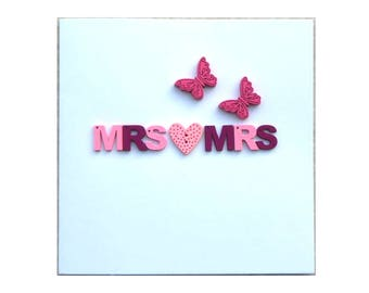 Ladies Gay Greeting Card Congrats LGBT Mrs and Mrs Wedding Butterfly Mrs and Mrs Engagement Card Mrs and Mrs Pink Heart Lesbian Butterflies