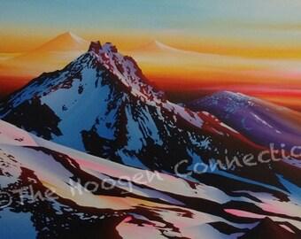 Custom Acrylic Painting On Canvas Bend Oregon Artwork Three Sisters Mountains