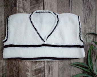 Black and White Stripe Knit Sweater Vest | Childrens