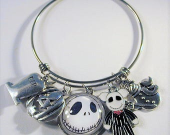 Nightmare before Christmas Inspired Bangle Charm Bracelet