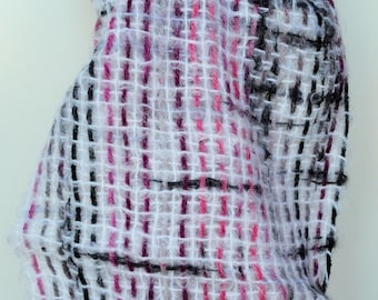 Handwoven mohair snuggly scarf