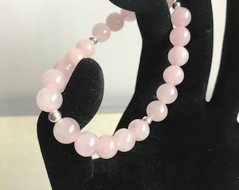 Rose Quartz beaded bracelet with sterling silver beads
