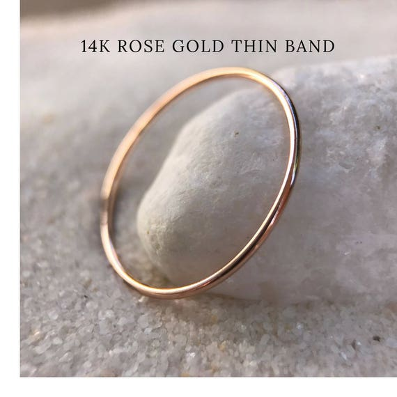 Rose Gold SOLID 14k Ultra Thin Wedding Band Trendy dainty