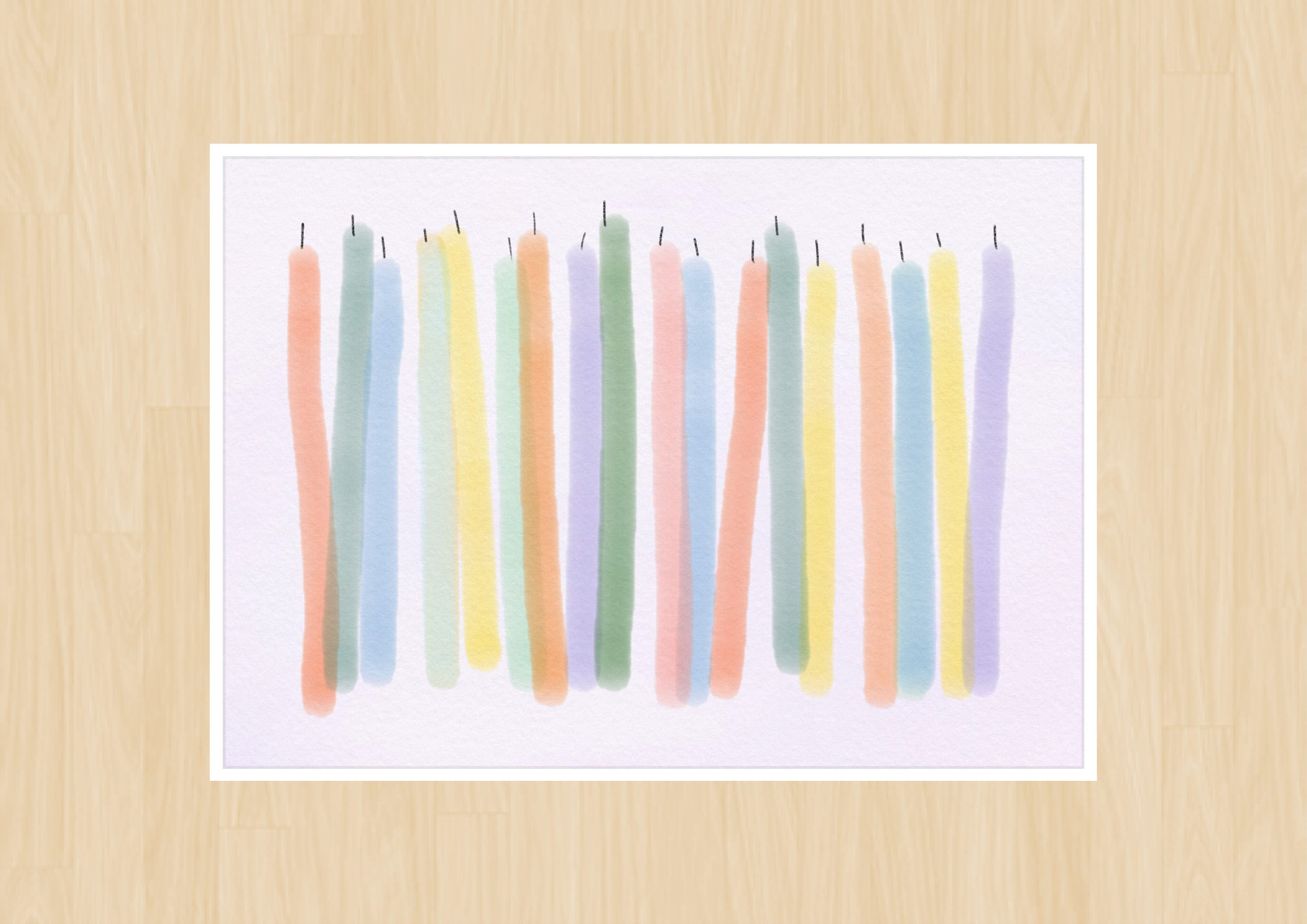 """5""""x7"""" Birthday Card―Colorful Candles Instant Digital"""