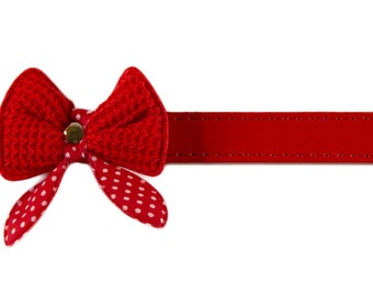 Petcessory Polka Dot Bow Tie Dog Collar, Red