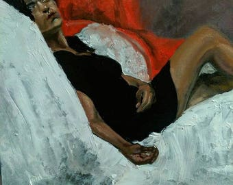Reclining Woman oil on panel
