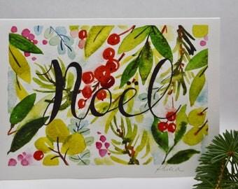 Christmas card, watercolor Christmas card, Holiday card, A7 card, Christmas floral, Seasonal card, Watercolor floral card
