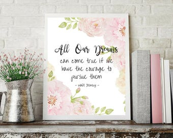 Printable art, All our dreams can come true, Typography