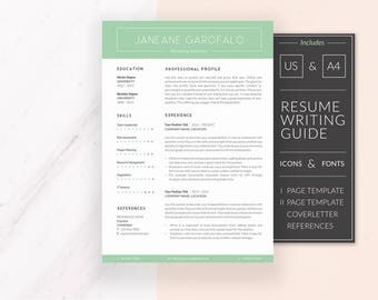 Modern Resume Template | CV Template + Cover Letter & References | Resume Template Word | Professional Resume | Instant Download | JANEANE