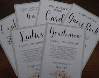 Pack of 6 Wedding Signs - Includes Guest Book, Social Media, Cards, Confetti and Ladies & Gentleman Toiletry basket signs