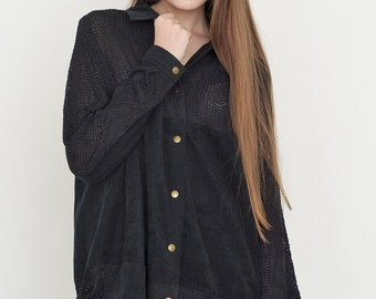 VINTAGE Black Velvet Lace Button Downs Retro Shirt