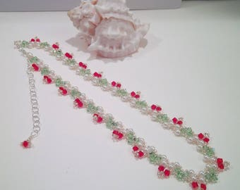 Sparkling Garden Flower Necklace with Red buds