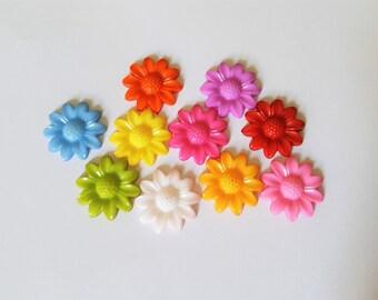 20mm flower cabochons, Flower cabochons, Flower flatbacks, Acrylic cabochons, Acrylic flatbacks, Cabochons, Flatbacks, Flowers, Flower