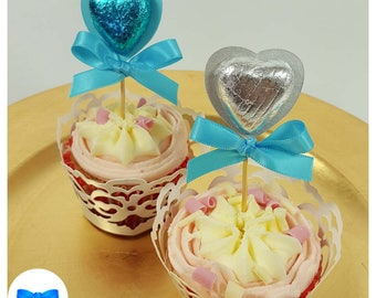10 x Party Favours - Chocolate Heart Favours - Cupcake Topper - Hen Party Favours - Birthday Party Favours - Gold Wedding Favours - Rainbow