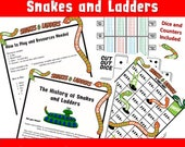 Printable/ Kids Printable Games / Party Board Games/ Times Multiplication Snakes and Ladders/ Christmas Activities Travel Print and Play 9x