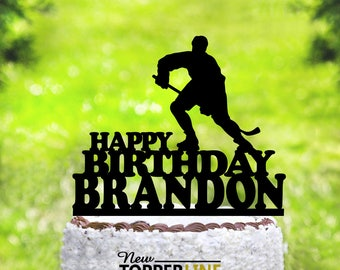 Hockey Cake Topper,Inline Hockey,Hockey Player Cake Topper,Ice Hockey,Sports Theme,Boys Birthday Party,Hockey Party,Personalized Cake(2035)
