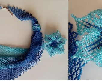 """Ocean blue """"bandana"""" beaded necklace and floral brooch"""