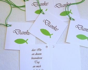 20 Cards Thank you communion/confirmation/baptism/.. Fish Green Handmade
