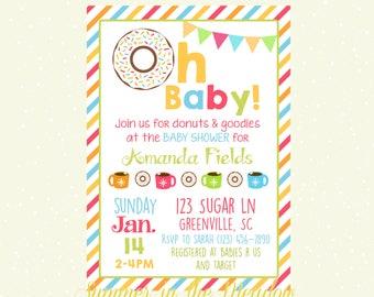 Oh Baby Baby Shower Invitation, Gender Neutral Baby Shower Invitation, Donuts Baby Shower, Sweets, Hot Cocoa, Dessert Baby Shower, Sugar