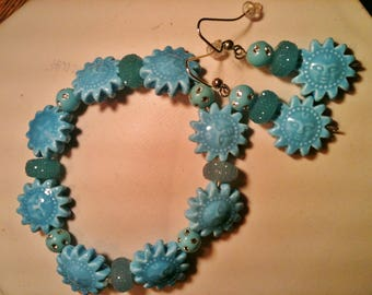 Novelty Bracelet and Matching Pierced Earrings