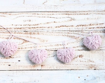 Yarn heart garland, valentine's day, nursery decor, wedding decor, bridal shower, baby shower, dorm room, yarn wall hanging, farmhouse decor