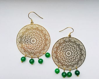 20%OFF!-Gold Lace Boho/Gypsy Dangle Earrings Handmade with Green Jade Beads.Gold Large Circle Round Filigree Earrings.Wedding Bride Jewelry