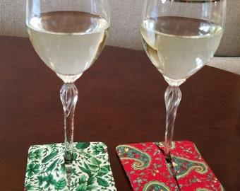 Holiday Wine Glass Coasters (slippers)