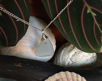 Soft blue genuine Scottish seaglass pendant