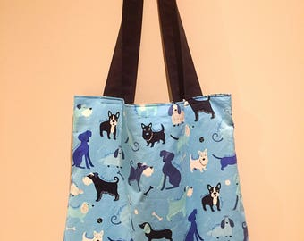 Dog Pattern Tote Bag - Blue Cotton Tote - Frenchie/Boston Terrier/Schnauzer - Puppy Pattern -Dog Lover Tote Bag