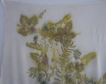 Natural silk scarf with ecoprint. E0008