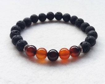 Diffuser Bracelet, Lava Stone and Carnelian Gemstone Stretch Bracelet Bracelet