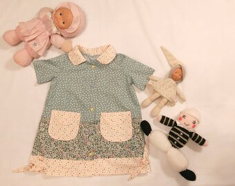 Dress style doll, girl dress cotton dress trapere with short sleeves, three fabrics, Peter Pan collar dress, doll style dress