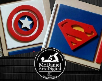 Superhero Wooden Wall Art , Superhero Picture   Childrenu0027s Room Decor    Superhero Symbols   3d