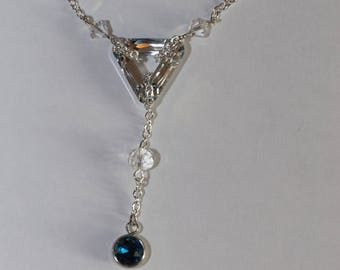 Ink blue silver triangle charm with Swarovski Crystal Necklace adjustable stainless steel.