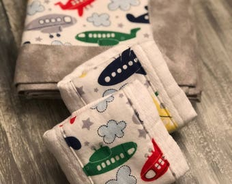 Airplane themed flannel baby blanket and burp cloth set