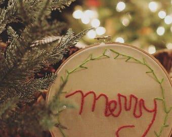 Merry Christmas Embroidery Hoop
