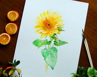 Sunflower Watercolor Sunflower Wall Decor Botanical Illustration Living Room Wall Art Yellow Flower Watercolor Painting Sunflower Gift
