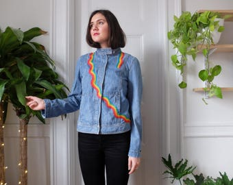 Rainbow Hand Embroidered Denim Jacket Size Small