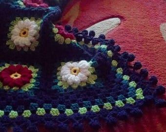 Crochet afghan, crochet blanket, granny square, multicolour throw, home decor, granny square, handmade throw, crochet throw