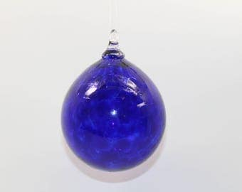 Hand Blown Glass Ornament - Transparent Cobalt Blue