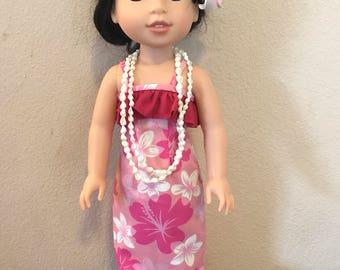 Wellie Wisher Hawaiian Luau Dress - Pink