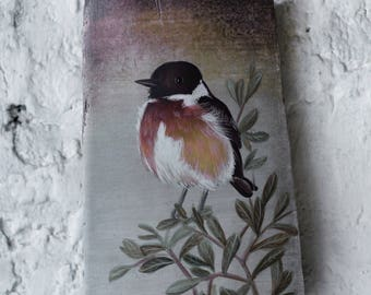 Little Bird - Stonechat - Painting on driftwood