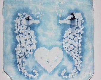 Batik Bag Seahorse Love Blue Teal Colors