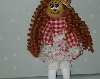 Clothespin doll, peg doll, red checker dress