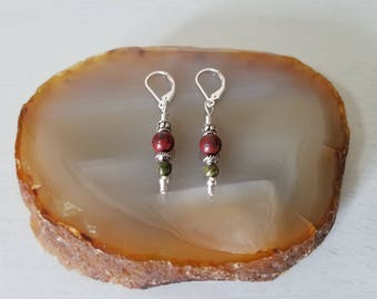 Sterling Silver, Jasper and Unakite Dangle with Lever Back Earring
