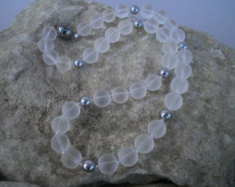 Rock crystal necklace with shell core beads #452